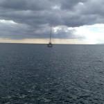 Havet en molnig dag