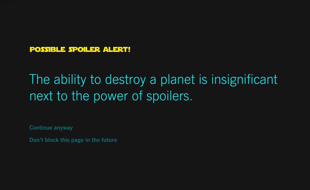 Star Wars spoiler stopp